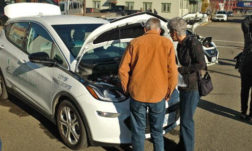 The City of Prince George's new electric car was unveiled Saturday in a showcase at the Prince George Farmers Market at 1310 3rd Avenue. City of Prince George photo