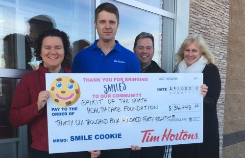 Tim Horton's Smile Cookie campaign raised $36,448 for the Spirit of the North Healthcare Foundation. Spirit of the North photo