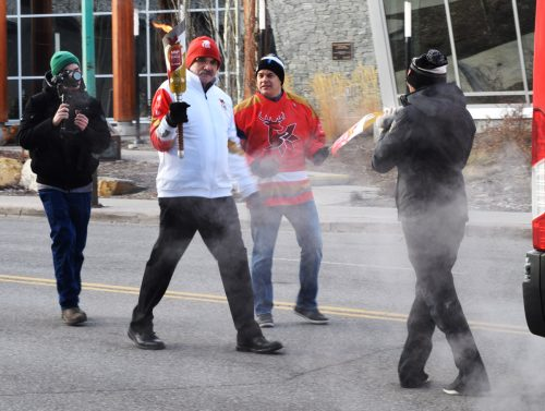 Prince George-Mackenzie MLA MIke Morris carries the torch. Bill Phillips photo