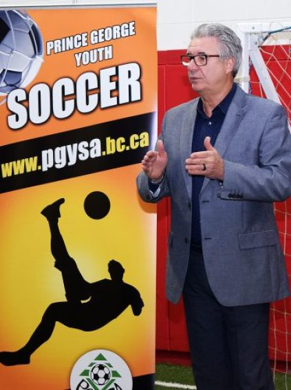 Mayor Lyn Hall announces the city will host the 2019 Les Sinnot Memorial Boys Provincial B Cup in July. Bill Phillips photo