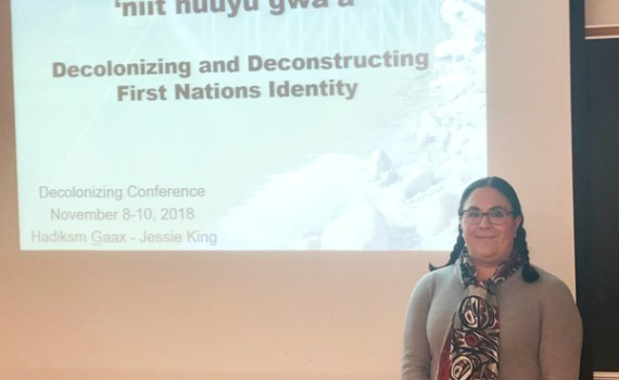 Jessie King before presenting her PhD thesis in Toronto. Northern Health photo