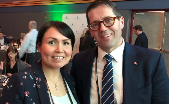 Prince George-Peace River-Northern Rockies MP Bob Zimmer with Haisla Chief Councillor Cyrstal Smith at BC Natural Resources Forum in Prince George.