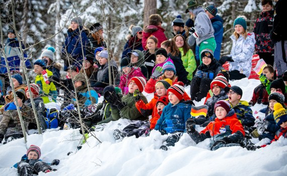 Heritage Elementary School students having a blast at the World Para Nordic Skiing Championships. Kelly Bergman/BergMedia