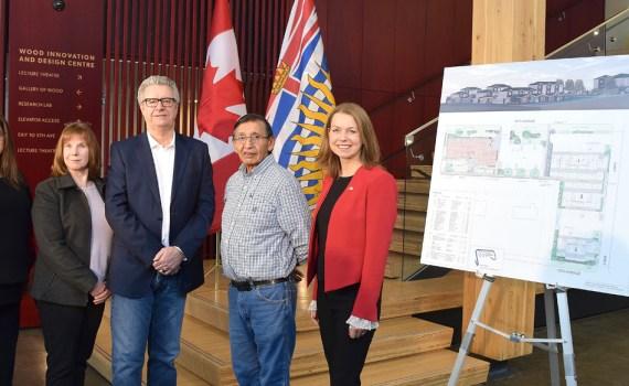 Bally Bassi, (left), Kathi Heim, Mayor Lyn Hall, Lheidli T'enneh elder Leonard Quaw, and Parliamentary Secretary Mitzi Dean. Bill Phillips photo