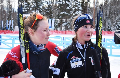 Canadian biathletes Emily Young (left) and Brittany Hudak speak with reporters after sprint standing event at the World Para Nordic Skiing Championships Wednesday. Bill Phillips photo
