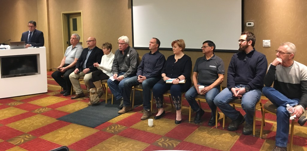 MP Bob Zimmer and panel at the Southern Caribou Recovery townhall.