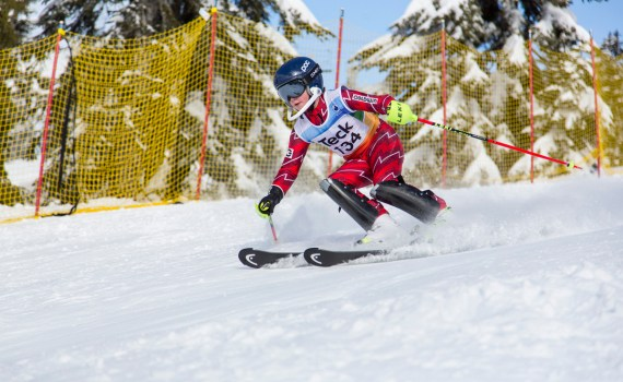 Skier carving a turn. Michael Iwasaki photo