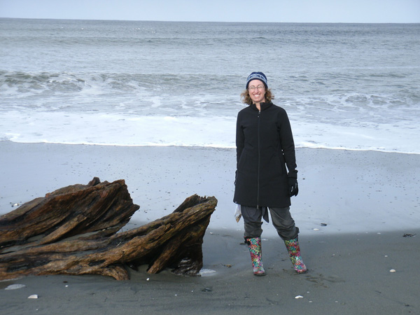 Andrea on the beach in Masset during one of her trips to Haida Gwaii. Northern Health photo