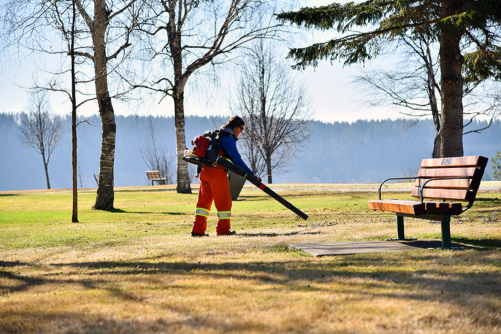 A city worker helps prepare Connaught Hill Park for an influx of spring visitors. The park is open to vehicular traffic from April through October. City of Prince George photo