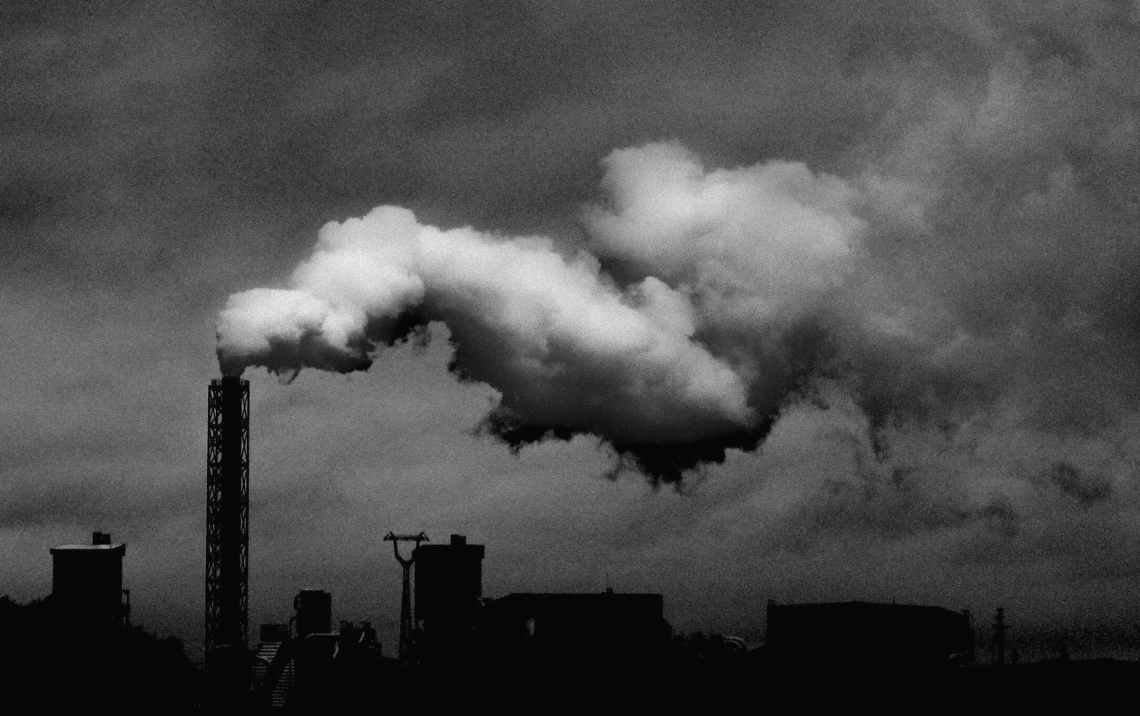 monochrome photo of industrial plant