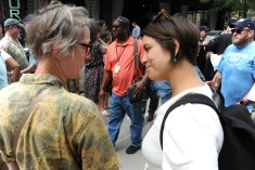 Post-Gazette reporter and Newspaper Guild of Pittsburgh member Diana Nelson Jones talks with Democratic state Rep. Sara Innamorato, 21st District at the rally along North Shore Drive in front of the offices of the Pittsburgh Post-Gazette, Friday, June 7, 2019, to support the Newspaper Guild of PIttsburgh and other PG Unions. (Kurt Weber)