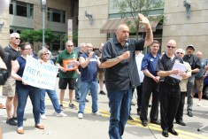 Pa. Lt. Gov. John Fetterman at the ​rally along North Shore Drive in front of the offices of the Pittsburgh Post-Gazette, Friday​,​ June 7, 2019, to support the Newspaper Guild of Pittsburgh and other PG Unions.​ (Kurt Weber)​