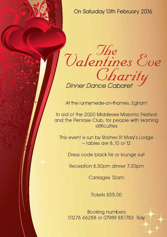 2020 Fund Raising Event Valentines Eve Dinner Dance Saturday 13th February Provincial