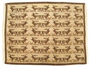 "Vintage Turkish Kilim with Deers, size 5'1"" x 4'1"". for sale with discount on Houzz.com"