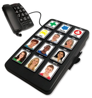 A great gift idea for seniors or grandparents is Sharper Image's large photo buttons phone.