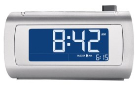A great gift idea for seniors is Brookstone's self-setting alarm clock.