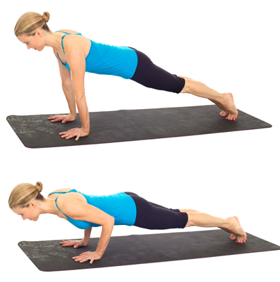Pilates push-ups, no weights needed so this arm exercise can be done anywhere.