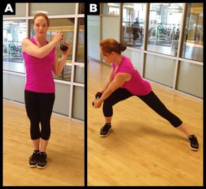Side lunge chop exercise with weight