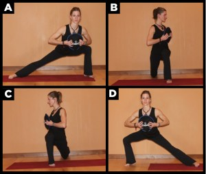Woman showing lunge exercuse.