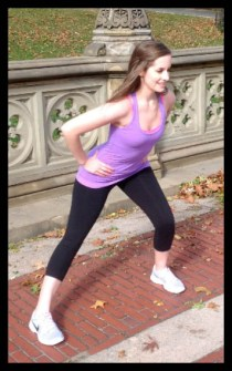 Woman demonstrates proper lateral lunge exercise.