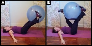 Woman exercises doing the ball leg drop.