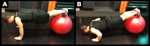 Man exercising with the ball pushup move.
