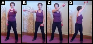 Woman exercises with multi planar reach.