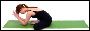 Woman sits in goddess yoga pose.