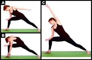 Woman shows yoga pose.