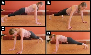 Woman exercising with plank.