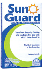 SunGuard is a laundry additive that adds sun protection to clothing.