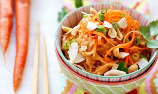 spaghetti squash noodles with thai peanut squash