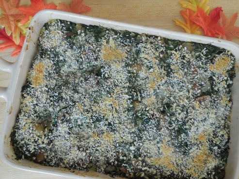 Spinach, Mushroom and Brown Rice Casserole with Caramelized Pearl Onions and Garlic-Panko (1)
