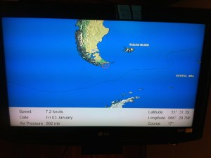 Map on a TV screen showing our position in the Drake's Passage.