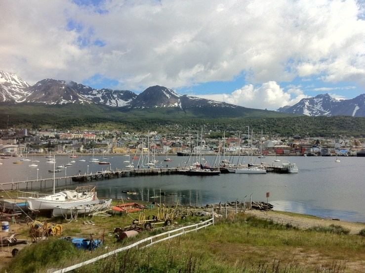 A view of the full harbour of Ushuaia.