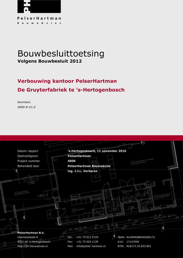 Voorpagina voorbeeld bouwbesluittoetsing Bouwbesluit 2012 doorPelserHartman