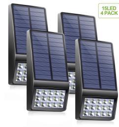 solar lights outdoor 4 pack 15 led super bright solar motion sensor lights with dim mode [ 1500 x 1500 Pixel ]
