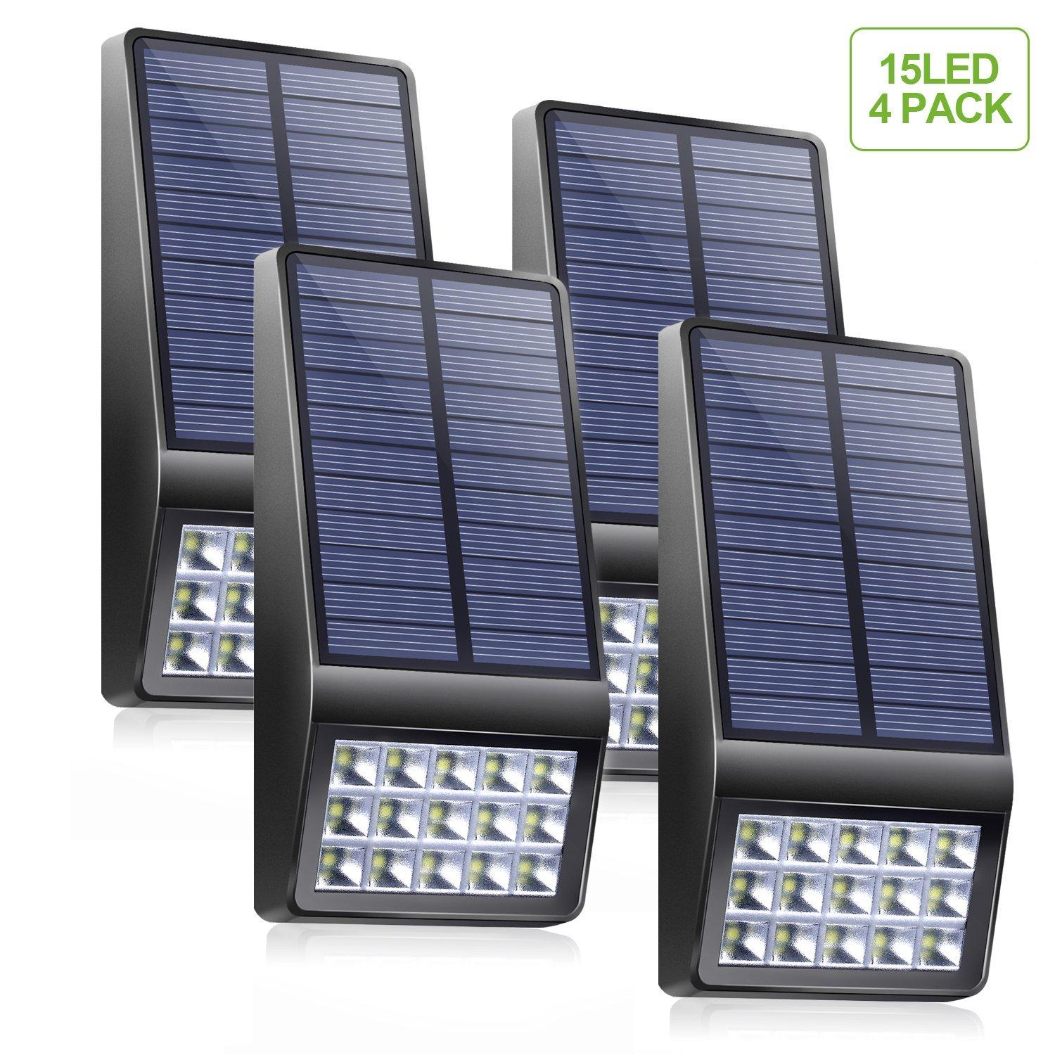 hight resolution of solar lights outdoor 4 pack 15 led super bright solar motion sensor lights with dim mode