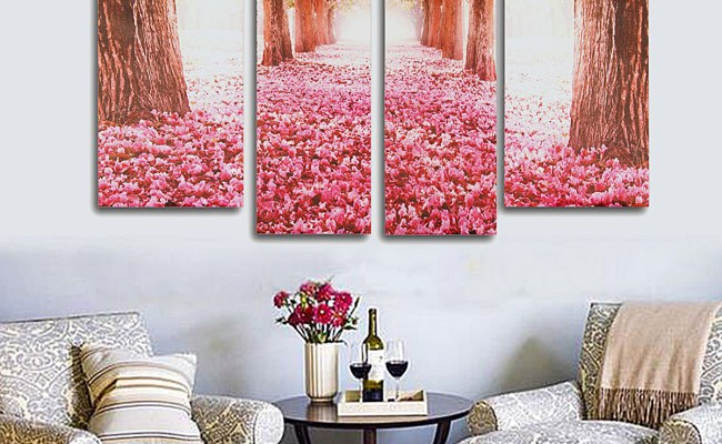 Cherry Blossom Abstract Canvas Art Oil Painting Home Wall