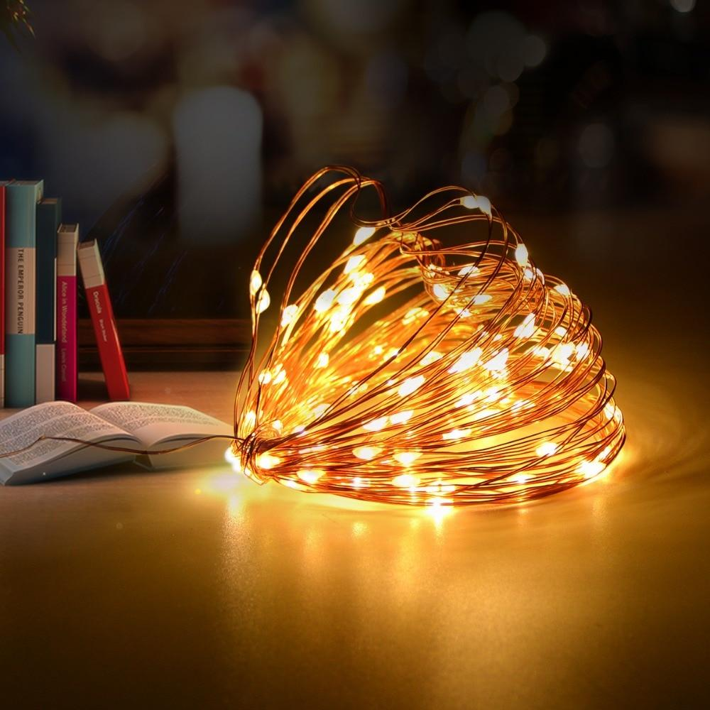 hight resolution of led garland table decor night light bedside lamp copper wire string fairy lights christmas wedding home