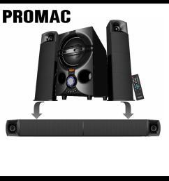 promac mms 2134sbt 2 1 multimedia speaker system with bluetooth [ 1000 x 1000 Pixel ]