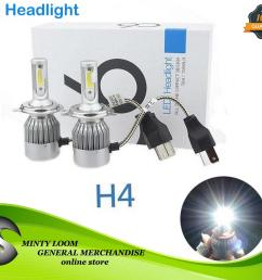 new 2pcs c6 led car headlight kit cob h4 36w 3800lm white light bulbs [ 1500 x 1276 Pixel ]