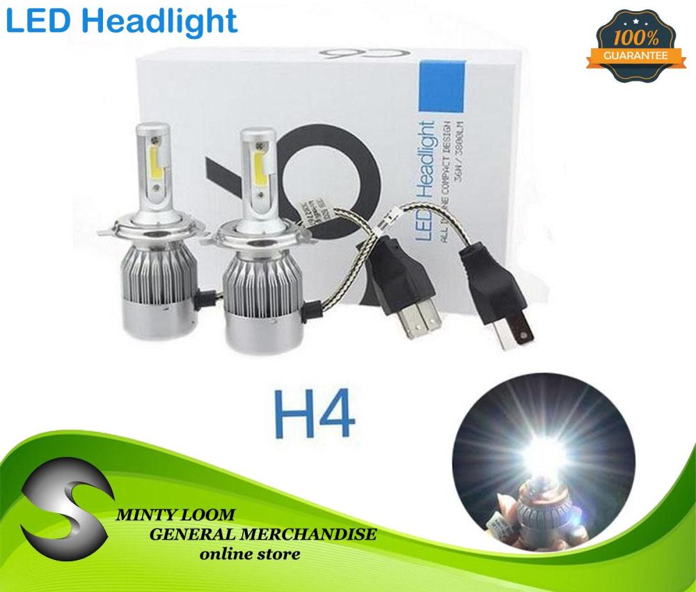 medium resolution of new 2pcs c6 led car headlight kit cob h4 36w 3800lm white light bulbs