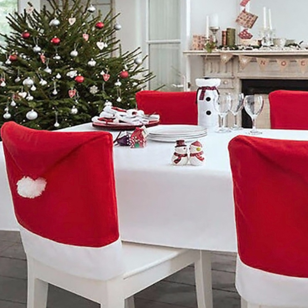 christmas chair covers white wedding cover rentals edmonton 6x chairs back dinner table santa hat home party name model 509915 material soft felt color red size 50x65cm width x length