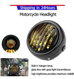 promotion motorcycle headlight 6 3 inch vintage motorcycle headlight black grill yellow lens universal for [ 1000 x 1000 Pixel ]
