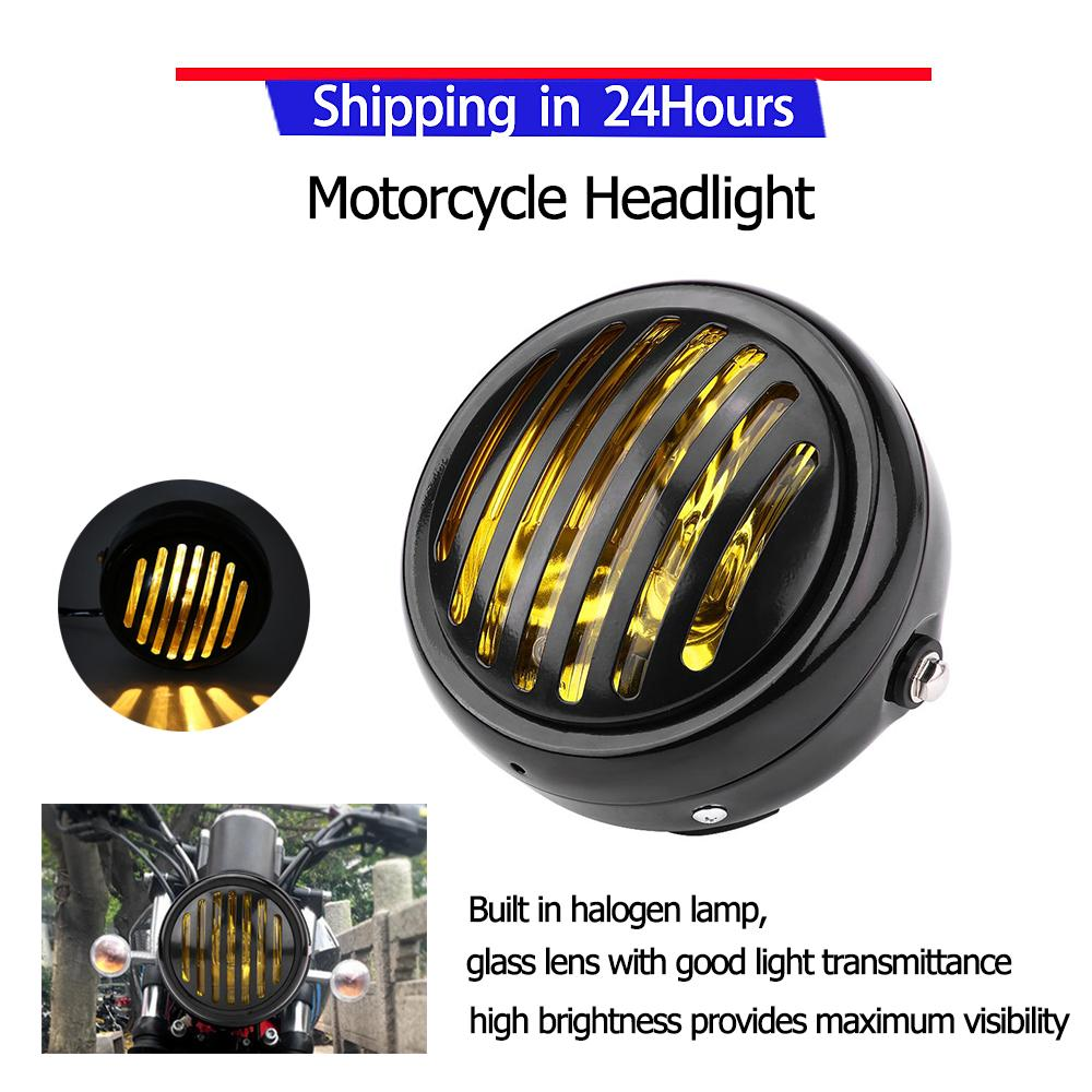 medium resolution of  promotion motorcycle headlight 6 3 inch vintage motorcycle headlight black grill yellow lens universal for