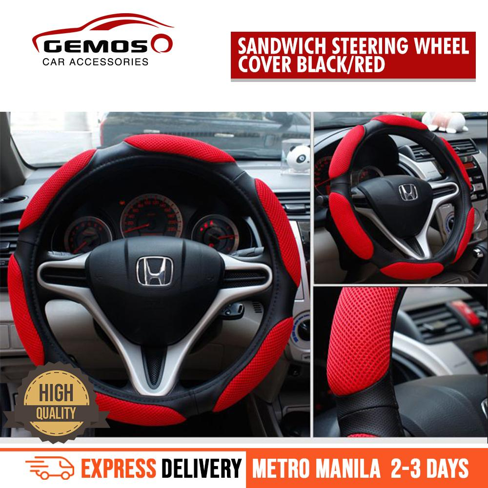 hight resolution of universal steering wheel cover anti slip sandwich sport type 38cm red