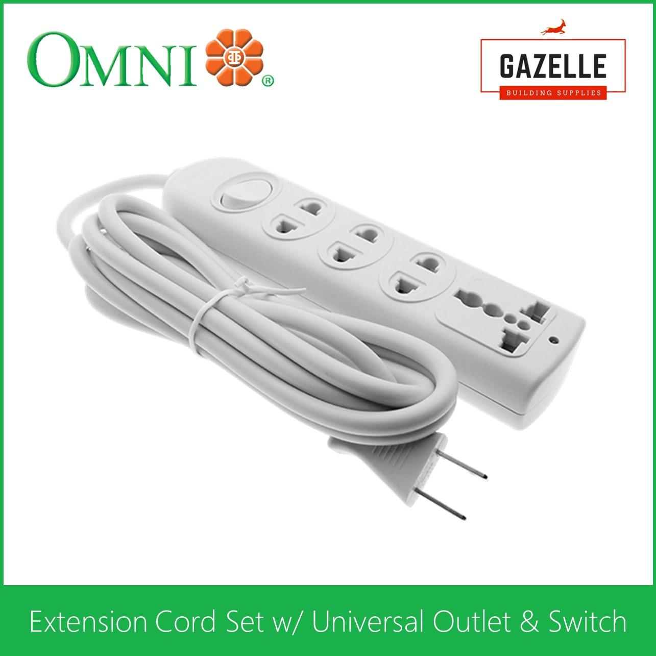 hight resolution of omni extension cord set w universal outlet and switch 1 83 meter wire wer
