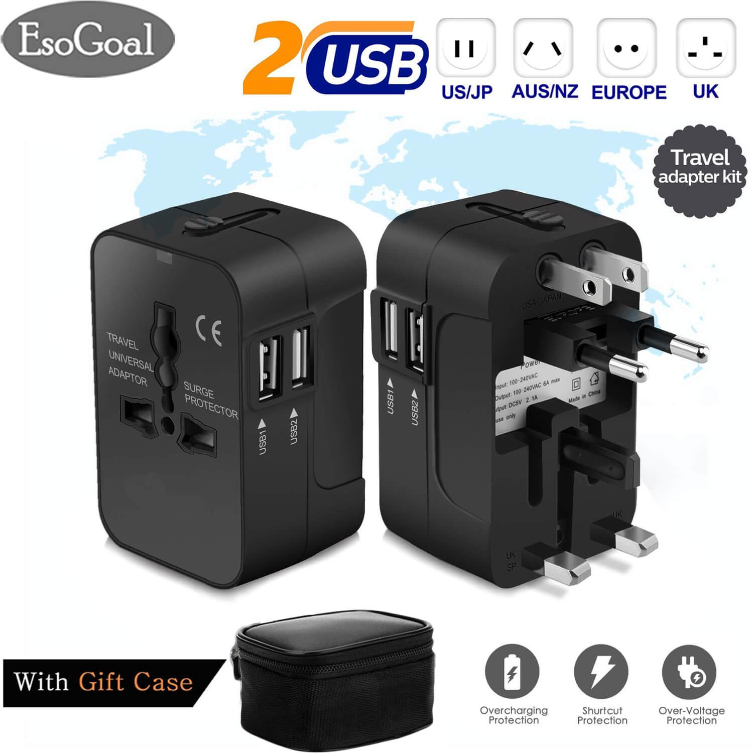 hight resolution of esogoal multi outlets travel adapter all in one international universal wall power travel adaptor
