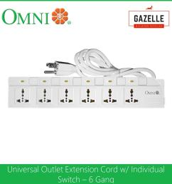 omni extension cord set with individual switch 6 gang 1 83 meter wire wed 360 [ 1285 x 1285 Pixel ]